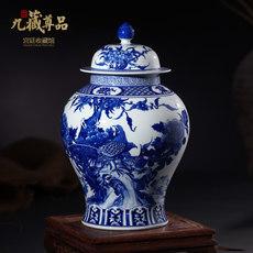 景德镇陶瓷花瓶 仿古手绘青花瓷花鸟将军罐茶叶盖罐 家居装饰摆件