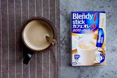 包邮日本AGF blendy 低热量低.脂1/2低卡牛奶咖啡10枚入速溶