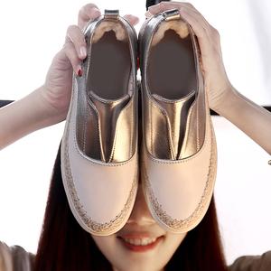 宋佳同款小白鞋女真皮渔夫鞋休闲女鞋一脚蹬单鞋乐福鞋韩版懒人鞋真皮女鞋