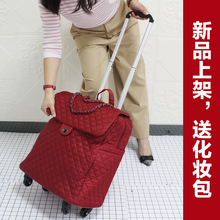 The net red pull rod suitcase female universal wheel 20 inches boarding waterproof fashionable light hand put forward bad baggage red