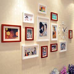 梓晨 实木照片墙 大尺寸适合生活照的相框墙 钟表 创意组合 36222