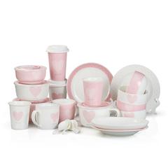 焕达粉色佳人22头可爱创意餐具 骨瓷套装盘子陶瓷碗 结婚特价包邮