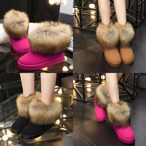 冬季新款圆头磨砂仿狐狸毛雪地靴加绒加厚棉鞋女鞋休闲保暖短筒靴女靴