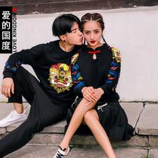 爱的国度情侣装冬装2016新款狮子个性加绒情侣卫衣韩版长袖外套潮