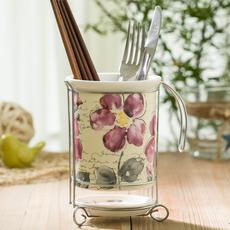 爱屋格林 筷子筒 挂式 沥水 多功能陶瓷创意筷笼 厨房用品餐具