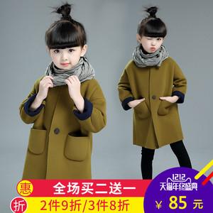 女童毛呢外套2016秋冬新款韩版中大童加厚风衣中长款加绒呢子大衣女童毛呢大衣