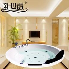 新世爵卫浴气泡按摩恒温立式圆形泡澡浴缸浴池嵌入双人冲浪浴盆独