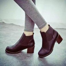 粗跟短靴女2016春秋靴子中跟马丁靴潮女粗跟裸靴短筒单靴圆头女靴