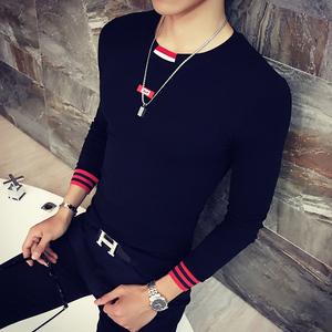 男士圆领长袖t恤薄款时尚男款秋装上衣服潮流青少年秋衣男打底衫男士打底衫