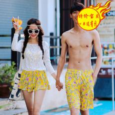 金格尔新款蜜月度假情侣泳衣女比基尼三件套长袖防晒罩衫男沙滩裤