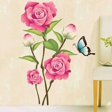 蝶恋花墙贴 客厅卧室沙发背景墙装饰牡丹花贴画卧室浪漫贴纸环保