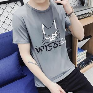 男士短袖T恤打底衫纯色圆领纯白色黑色体恤修身夏季男装上装衣服男士T恤