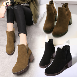 冬季新款粗跟马丁靴女欧美磨砂皮中跟单靴真皮圆头学生短筒女靴子