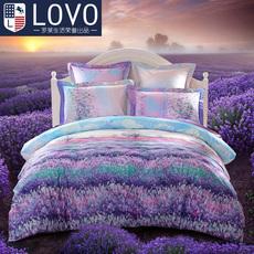 罗莱生活lovo家纺全棉四件套纯棉床单被套床上用品爱在普罗旺斯