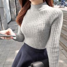 毛衣打底衫女保暖半高领加厚针织衫女秋冬修身学生白色毛衣套头女