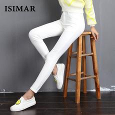 2017春季新款黑色白色女韩版显瘦修身简约九分牛仔裤小脚铅笔裤