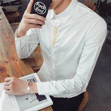 打底衬衫男长袖修身韩版内搭潮流夜店帅气个性学生青少年百搭衬衣