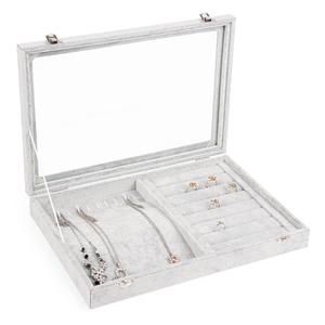 冰花绒首饰盒 高档首饰展示盘 戒指吊坠项链手镯收纳盒带盖珠宝箱首饰盒