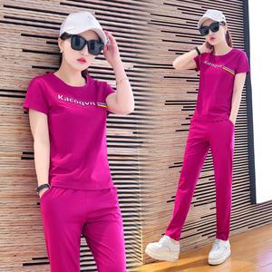 短袖运动套装女2017夏季新款潮韩版时尚长裤休闲套装女夏装两件套煤气钢瓶