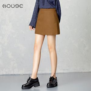 KOOGE明线呢子短裙秋冬季新款韩版包臀裙高腰毛呢半身裙a字裙子大摆裙