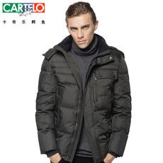 CARTELO/卡帝乐鳄鱼男士羽绒服男中长款男装商务休闲冬装外套包邮