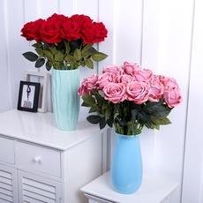 天天特价高档品质仿真玫瑰假花插绒布套装 客厅餐桌装饰干花摆件