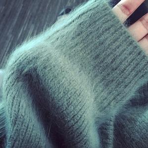 紫红色外套毛衣宽松毛衣貂绒针织秋季外套秋冬套头毛衣女韩版包邮羊绒衫女