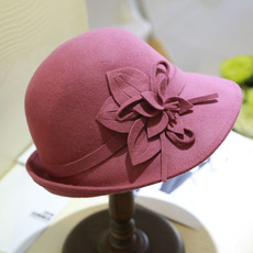 夏季新款英伦渔夫帽韩版羊毛呢小礼帽女 潮盆帽时尚休闲帽子