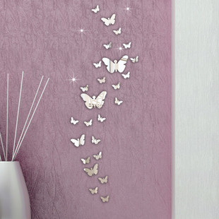 30PC Butterfly Combination 3D Mirror Wall Stickers Home Deco