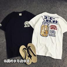日系潮牌港风流行男装原创情侣tee搞怪印花韩版修身短袖T恤潮男女