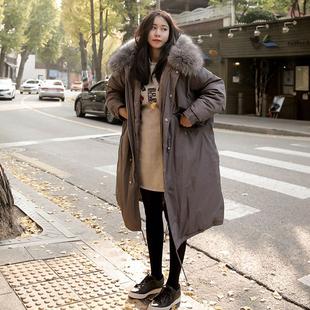 冬装新款超大毛领棉衣外套女韩版长款加厚棉服宽松休闲棉袄大码潮