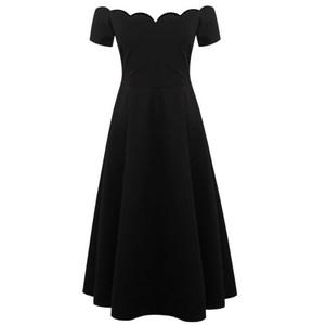 赫本风复古气质黑色一字领露肩修身小黑裙连衣裙女夏中长款礼服杨桃