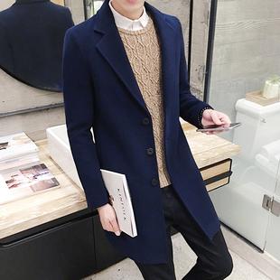秋季毛呢大衣男中长款韩版男士风衣秋冬呢子外套青年呢绒加厚外套
