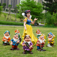 花园卡通摆件白雪公主和七个小矮人玻璃钢雕塑园林户外景观小品