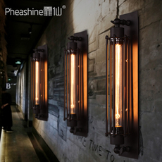 霏仙 loft复古工业壁灯美式铁艺床头灯酒吧咖啡店爱迪生长笛壁灯
