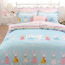 西西之地北欧可爱卡通纯棉床上用品四件套清新全棉床单三件套床单