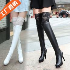 秋冬欧美蕾丝性感夜店白色高筒过膝长靴子高跟细跟瘦腿骑士靴女靴
