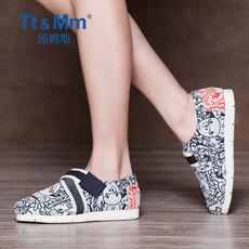 Tt&Mm/汤姆斯2017春夏新款魔术贴时尚布鞋 韩版潮帆布鞋平底女鞋