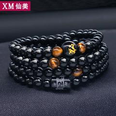 十二生肖多层手链男女士韩版黑色穿珠手串佛珠简约个性潮男配饰品