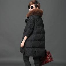 秋比狐狸毛领羽绒服女中长款2017新款韩版时尚休闲冬装外套潮
