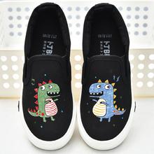 卡通男童帆布鞋2019春季新款手绘涂鸦风怪兽儿童布鞋一脚蹬女童鞋