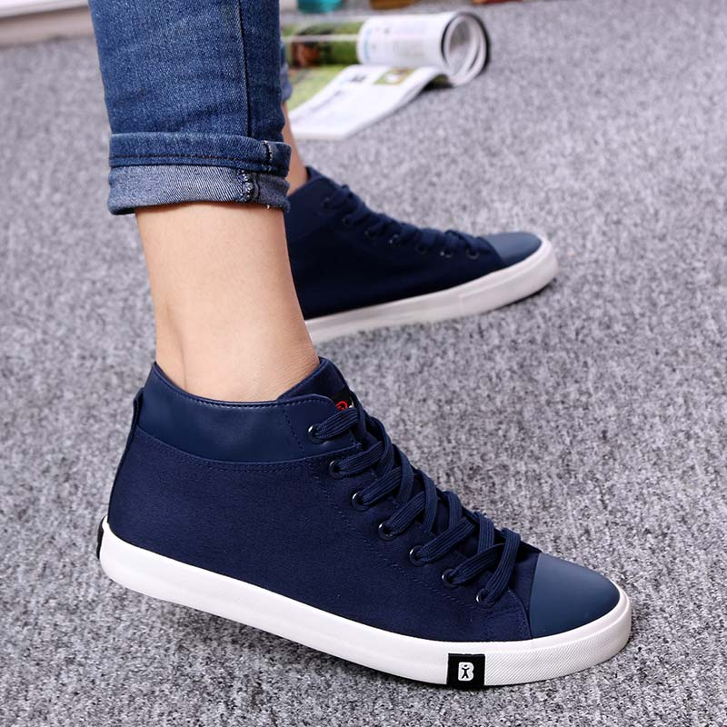 春秋黑白色高帮鞋男士休闲鞋人本帆布鞋男学生球鞋高腰布鞋男板鞋