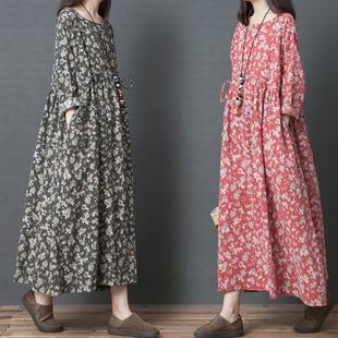 2019春装新款女民族风大码棉麻长袖连衣裙休闲中长款亚麻碎花裙子