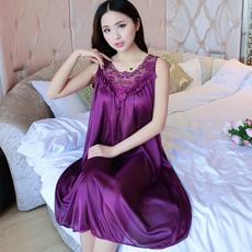夏季真丝睡裙女冰丝吊带裙休闲宽松大码性感无袖雪纺蕾丝韩版睡衣