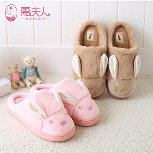 棉拖鞋女士厚底居家冬季保暖包跟室内冬天防滑可爱卡通毛毛绒拖鞋棉拖鞋