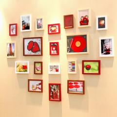 实木照片墙 温馨心形20框创意组合 相片墙 像框相框墙组合 画框
