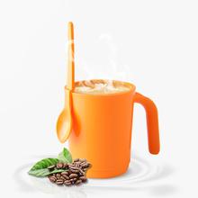 正品特百惠水杯 甜蜜冲调杯350ml 咖啡杯牛奶杯带勺子饮料杯