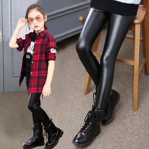女童皮裤2018春季新款韩版童装外穿春秋薄款针织皮长裤儿童打底裤