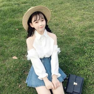 新款春夏天清纯网络yy直播 主播上镜性感 衣服装女装甜美雪纺衬衫