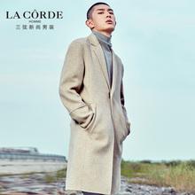 三弦男装 冬季中长款 毛呢大衣男英伦双面羊毛呢子大衣男落肩外套